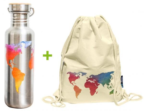 Edelstahl Trinkflasche 800ml Bambus-Schraubverschluss + Turnbeutel Bio-Baumwolle Weltkarte