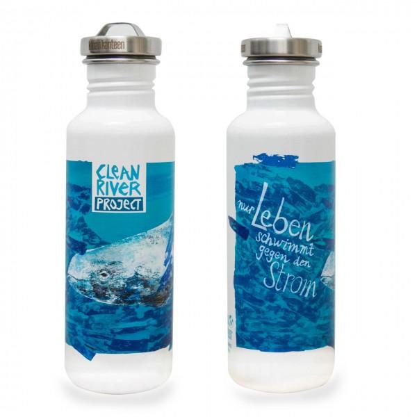 Klean-Kanteen-Edelstahlflasche-Classic-einwandig-Clean-River-Project-800ml-vorn-und-hinten