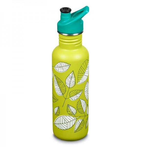 Edelstahl Trinkflasche Classic Leaves limitiert 800ml Sport Cap