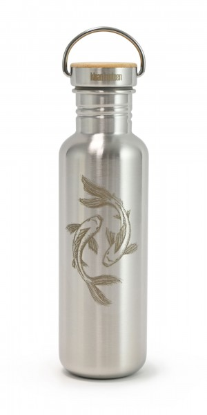 Edelstahl Trinkflasche Classic Fische by Hannibelle 800ml Bambus-Schraubverschluss