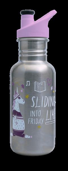 Edelstahl Trinkflasche Classic Sliding into Friday limitiert 532 ml Sport Cap rosa