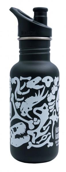 Edelstahl Trinkflasche Classic Dino Shale Black limitiert 532 ml Sport Cap
