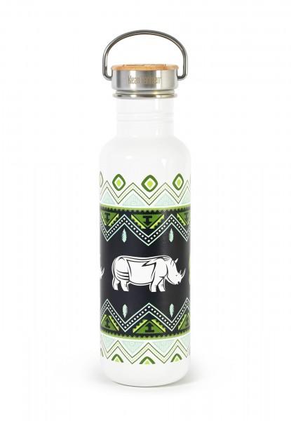 Edelstahl Trinkflasche Classic Save the Rhino 800ml Bambus-Schraubverschluss