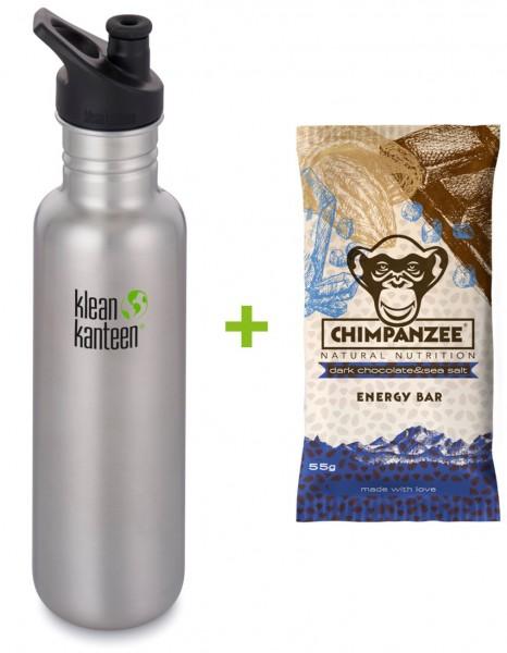 Classic 800ml + Chimpanzee Energie-Riegel Dark Choc-Salz