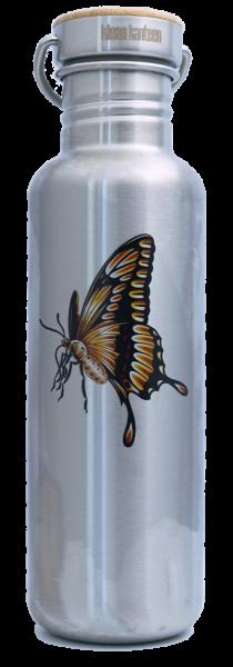 Classic einwandig 27 oz (800 ml) A Summer's Tale Schmetterling mit Edelstahl Loop Cap mit Bambus