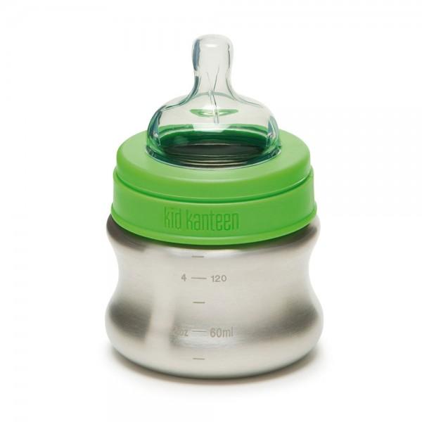 Edelstahl Babyflasche 148ml 0-6 Monate langsamer Trinkfluss (Mod.2017)